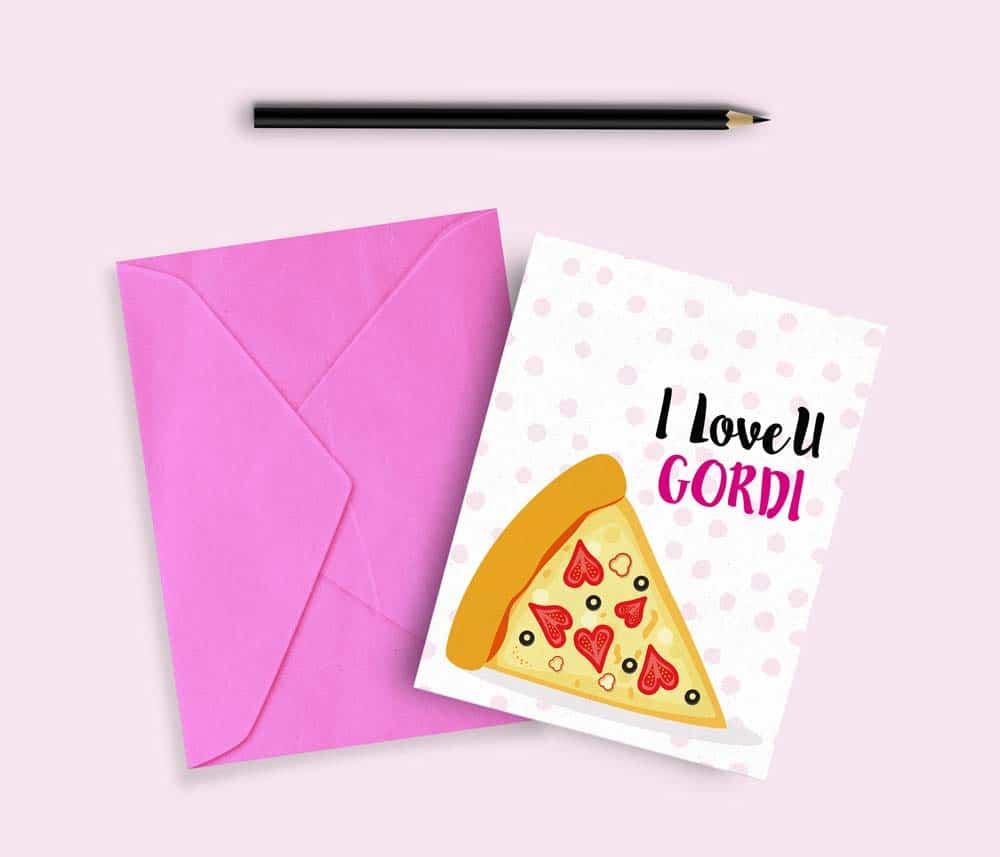 tarjetas de san valentin divertida pizza