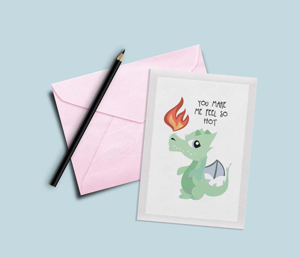 tarjetas de san valentin divertida dragón