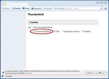 Pantalla de inicio de thunderbird | Blog - Diseño web Madrid
