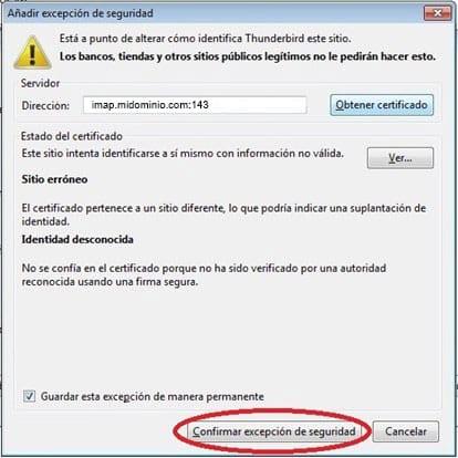 Excepción de seguridad Thunderbird | las 12 en punto - Blog de diseño web, posicionamiento SEO, diseño grafico.