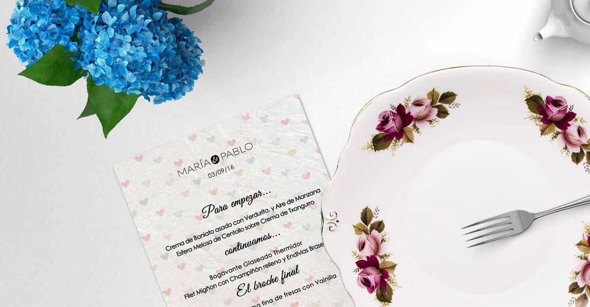 Minuta elegante en papel iridiscente