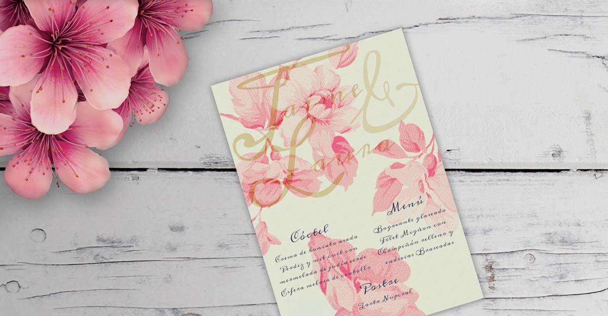 Minuta floral en papel verjurado